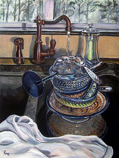 Art: A Sink Full: Polish Pottery L by Artist Heather Sims