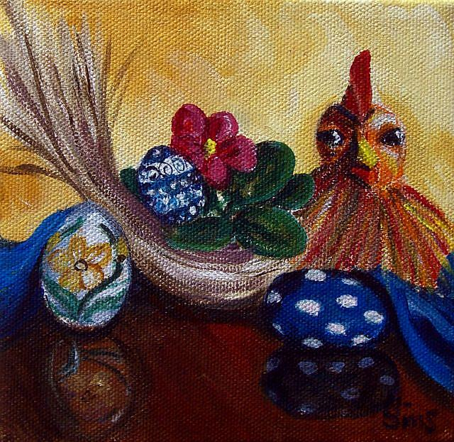 Art: Chicken and Eggs: Polish Pottery XLVc© by Artist Heather Sims