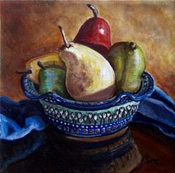 Art: Bowl of Pears: Polish Pottery XLVI© by Artist Heather Sims