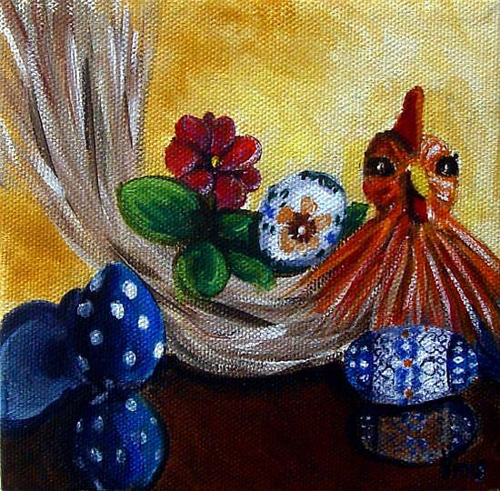 Art: Chicken and Eggs: Polish Pottery XLVf© by Artist Heather Sims