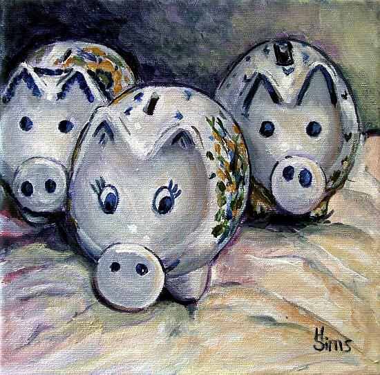 Art: Three Little Piggies: Polish Pottery LV by Artist Heather Sims
