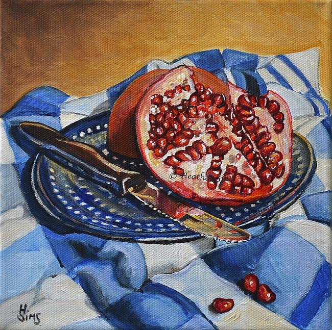 Art: Pomegranate: Polish Pottery LXXXII by Artist Heather Sims