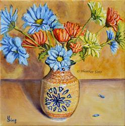 Art: Vase of Daisies: Polish Pottery LXXXVIII by Artist Heather Sims