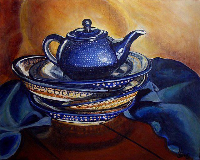 Art: Stacked!! Polish Pottery XVIII by Artist Heather Sims
