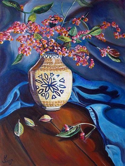 Art: European Spindle: Polish Pottery XXI by Artist Heather Sims