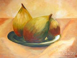 Art: Stil life pears on plate by Saskia Franken-Saers