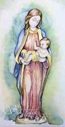Art: Mary and baby Jesus by Artist Saskia Franken-Saers