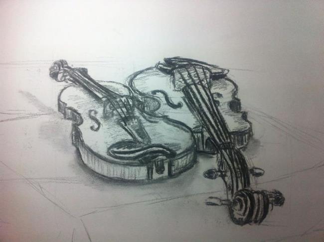 Art: Still life violins by Artist Saskia Franken-Saers