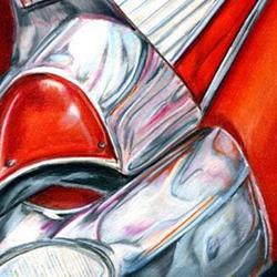 Art: 57 Bel Air in Red: the Adventure Begins SOLD by Artist Alma Lee