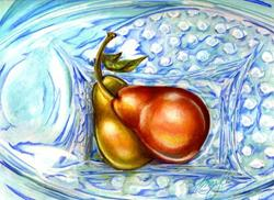 Art: Blue Hobnail China with Pears by Artist Alma Lee