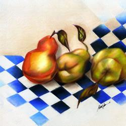 Art: Pears on the Harlequin by Artist Alma Lee
