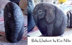 Art: Endangered Babe Rock Painting by Artist KiniArt