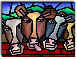 Art: Cows by Artist Amanda Hone