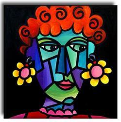 Art: Girl With Funky Earings by Artist Amanda Hone
