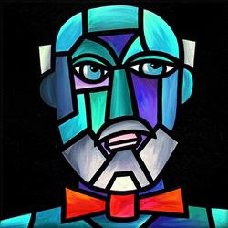 Art: Bald Man with Bow-Tie by Artist Amanda Hone