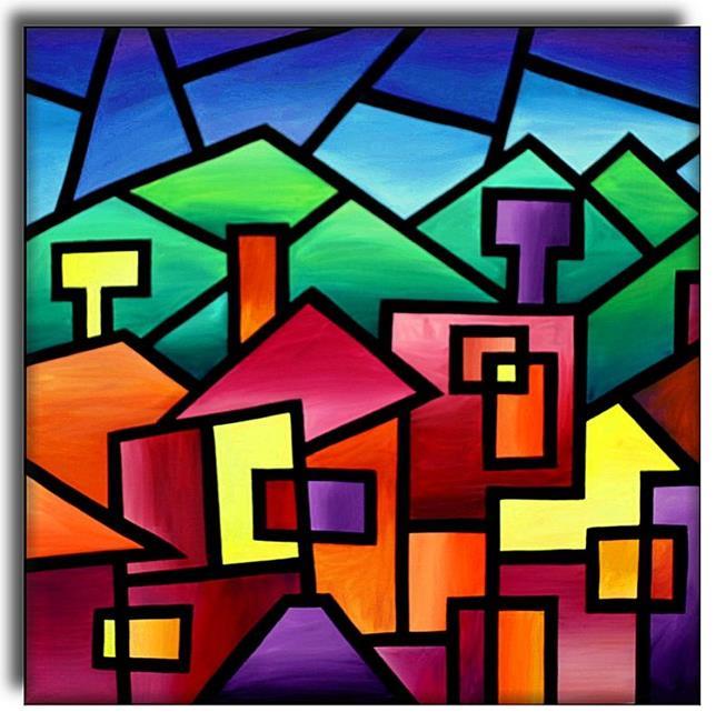 Art: Village and Hills by Artist Amanda Hone