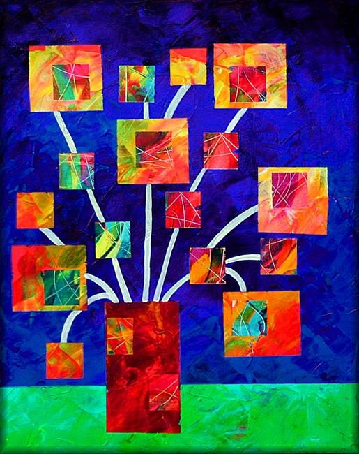 Art: Square Flowers by Artist Amanda Hone