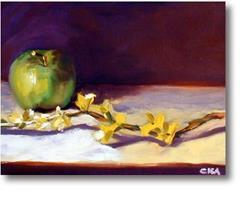 Art: Forsythia & Apple by Artist C. k. Agathocleous