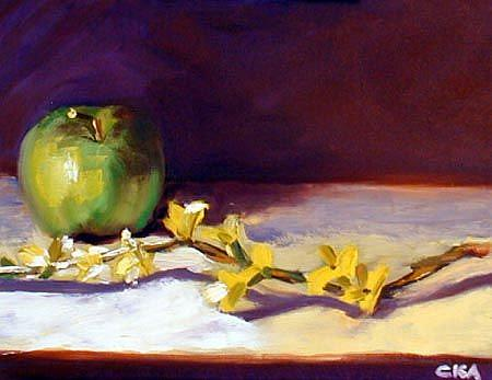 Art: Forsythia and Apple by Artist C. k. Agathocleous