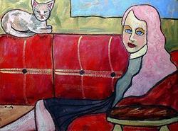 Art: Girl with Kitten by Artist C. k. Agathocleous