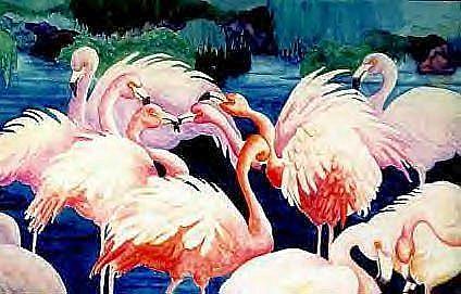 Art: Flocking Flamingos by Artist Susie Barstow