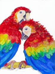 Art: A Little Higher - Scarlet Macaws by Artist Susie Barstow