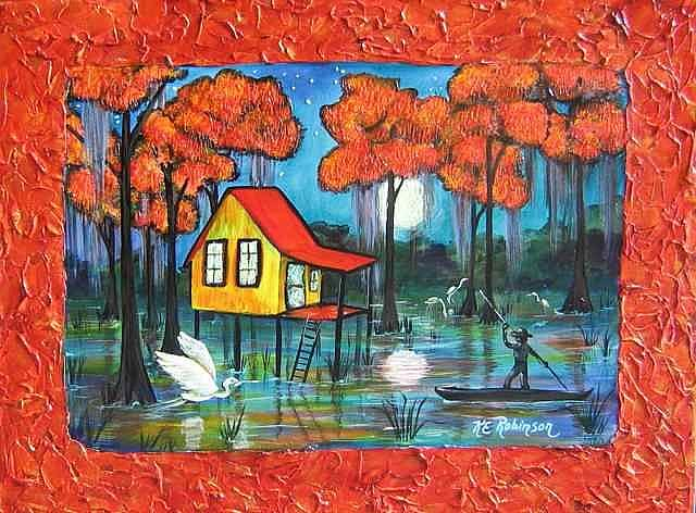 Florida Everglades Swamp House 18x24 By Ke Robinson From