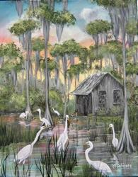 Art: FLORIDA Swamp House SOLD by Artist Ke Robinson