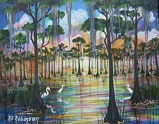 Art: FLORIDA SWAMP BIRDS by Artist Ke Robinson