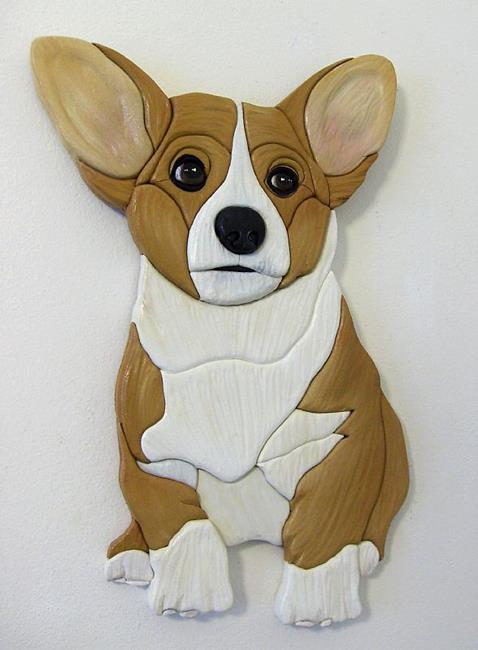 Art: Sweet Corgi  Pup Original Intarsia Art by Artist Gina Stern