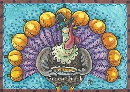 Art: THANKSGIVING TURKEY AND PUMPKIN PIE by Artist Susan Brack