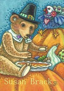 Art: TEDDY BEAR PILGRIM by Artist Susan Brack