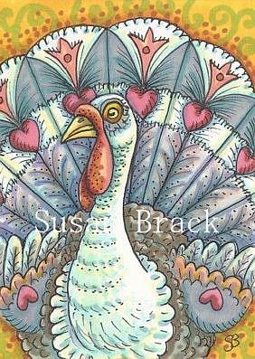 Art: FOLK ART GOBBLER by Artist Susan Brack