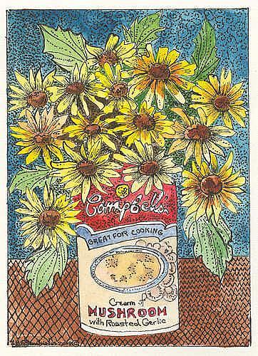 Art: CAMPBELLS SOUP AND BLACK EYED SUSANS by Artist Theodora Demetriades