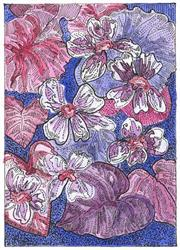 Art: State Flower of New Jersey MEADOW VIOLET by Artist Theodora Demetriades