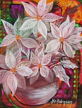 Art: WHITE CHRISTMAS POINSETTIAS SOLD by Artist Ke Robinson