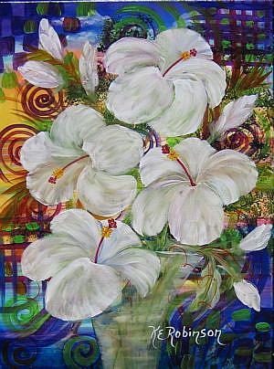 Art: WHITE HIBISCUS  #1378E -sold by Artist Ke Robinson