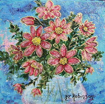 Art: PINK FLOWERS $125. sold by Artist Ke Robinson