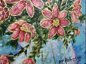 Detail Image for art PINK FLOWERS $125. sold