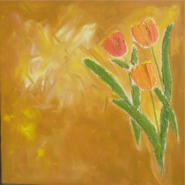 Art: FRESCO TEXTURED TULIPS by Artist Eridanus Sellen