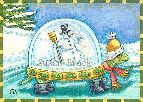 TORTOISE SHELL SNOW GLOBE ON A FROZEN POND - by Susan ...