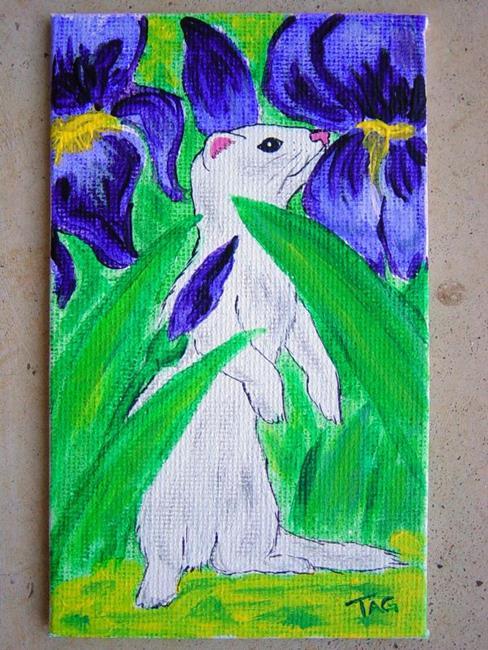 Art: White ferret in Irises by Artist Tracey Allyn Greene