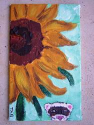Art: Sunflower and Ferret by Artist Tracey Allyn Greene
