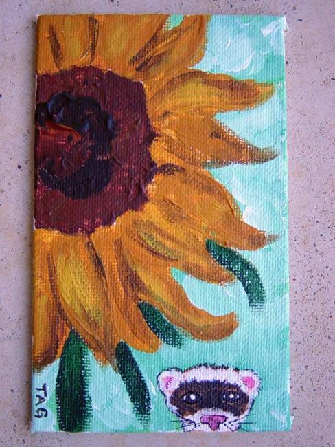 Art: Sunflower and Ferret by Artist Tracey Allyn Greene