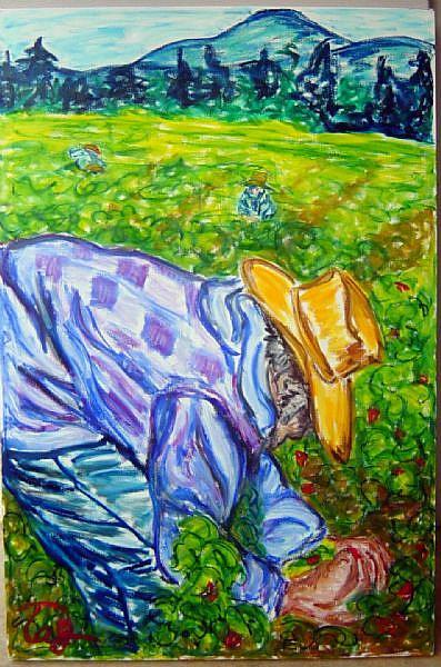 Art: The Strawberry Picker  by Artist Tracey Allyn Greene