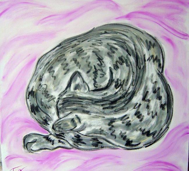 Art: Tabby Cat Curl on Pink Blanket by Artist Tracey Allyn Greene
