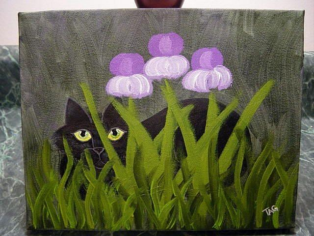 Art: Black Cat In Irises by Artist Tracey Allyn Greene