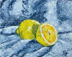 Art: 2 lemons by Artist Tracey Allyn Greene