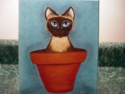 Art: Potted Siamese by Artist Tracey Allyn Greene