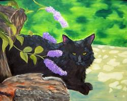 Art: Kipling Under The Butterfly Bush by Artist Tracey Allyn Greene